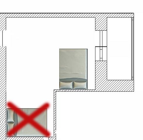 спальня г-образной формы